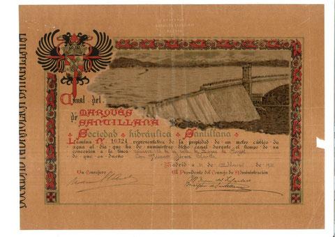 Lamina del Marques de Santillana de 31 de marzo de 1911 a nombre Nicanor Sirera García, segunda generación de prospereño