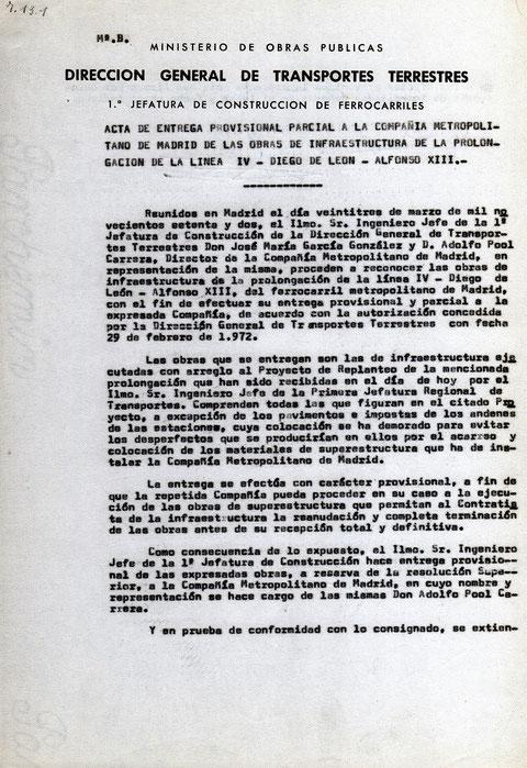 Acta de entrega a la Compañía Metropolitano de Madrid de las obras de infraestructura. 23 de marzo de 1972. Colección César Mohedas