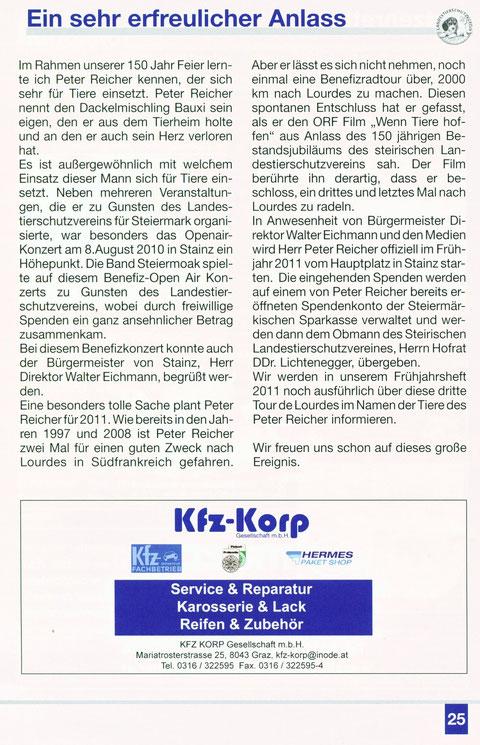 Auszug aus der Broschüre des Steirischen Landestierschutz-Vereins -Notiert von Herrn Hofrat Dr.Dr. Fritz Lichtenegger-Obmann des Steirischen Landestierschutz-Vereins -(Seite 25)