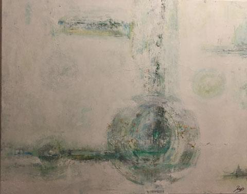 1.00 m x 0,80 m (2016) Abstrakt. Acryl auf Leinwand. Schichtarbeit mit Blattgold