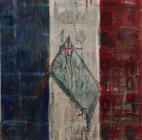 Wir weinen 2015 mit den Menschen in Frankreich! 13.01.2015. 0.80m x 0,80 m. Acryl auf Leinwand mit Resin geschliffen.