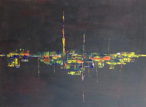 Stadt oder Abstrakt USA (2015) 0.80 m Breite x 0,60m Höhe , Acryl Spachtelarbeit auf Leindwandpappe