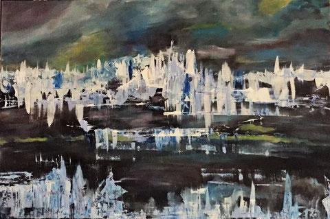 """Winter"" Abstrakt (2017) 0,90m X 0,60m Acryl auf Leinwand"