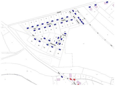 Plan avec noms des rues et numéros des lots