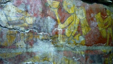 Parte del mural en restauración.