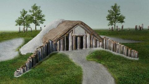 Ilustración que representa un túmulo alargado donde los expertos piensan que se llevaban a cabo rituales funerarios como remover carne y extremidades de los muertos.