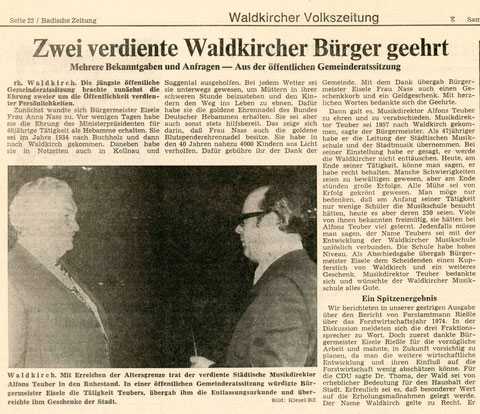 Badische Zeitung, Samstag/Sonntag 21./22. Dezember 1974