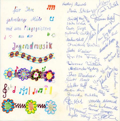 Die Dankeskarte der Jugendmusik