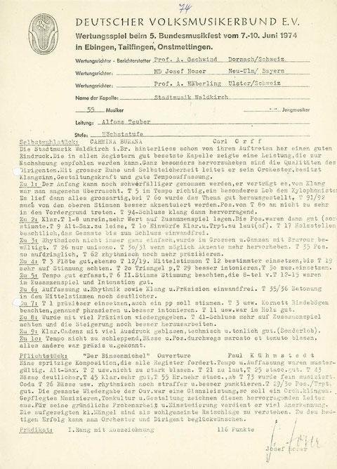 Bewertung des Wertungsspiels Tailfingen 1974