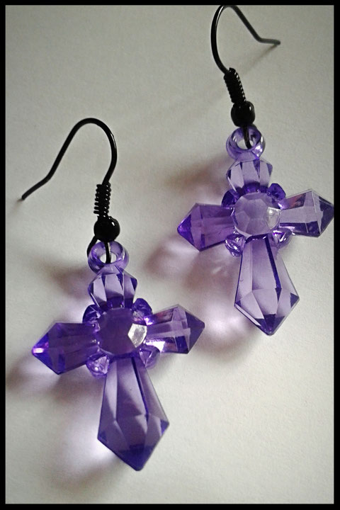 Dark Translucent Purple Cross Earrings