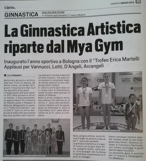 """Articolo """"Lo Sportivo"""" 09/03/12"""