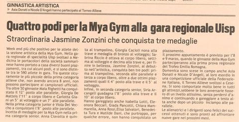 """Articolo """"Lo Sportivo"""" 25/02/2014"""