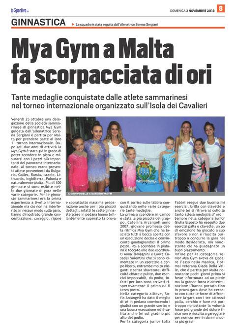 """Articolo """"Lo Sportivo"""" 03/11/2013"""