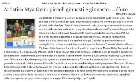 """Articolo """"Sanmarinonotizie"""" 10/03/2014"""