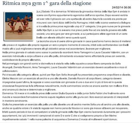 """Articolo """"Sanmarinonotizie"""" 24/02/2014"""