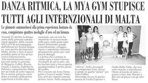 """Articolo """"L'informazione"""" 03/11/2013"""