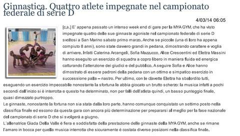 """Articolo """"Sanmarinonotizie"""" 04/03/2014"""