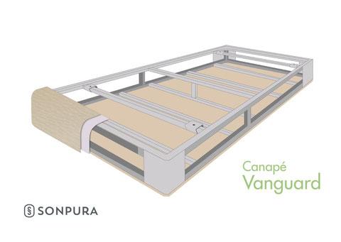 Vista invertida de la estructura del canapé vanguard sonpura