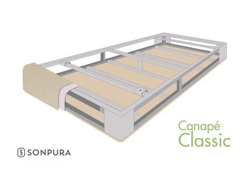 Vista invertida de la estructura del canapé classic sonpura