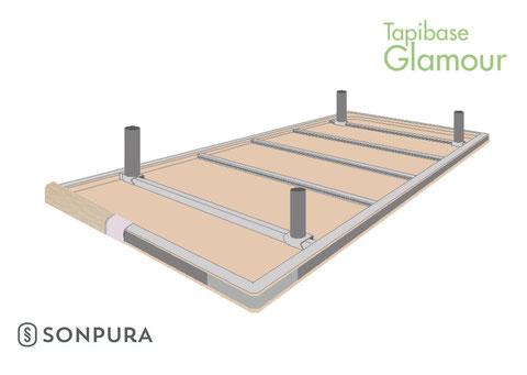 Vista invertida de la estructura del Tapibase Glamour