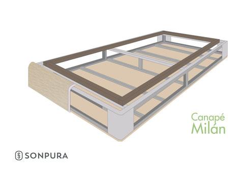 Vista invertida de la estructura del canapé milan sonpura