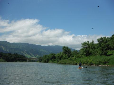 のどかな風景の中、千曲川をSUPでのんびり川下り