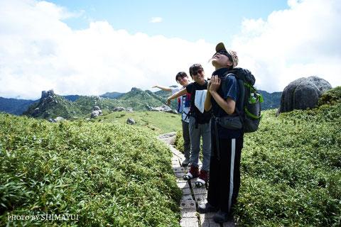 百名山山頂手前,屋久島,宮之浦岳,ガイドツアー