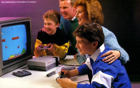 Una família juega con la consola de 3ª generación, Nintendo NES
