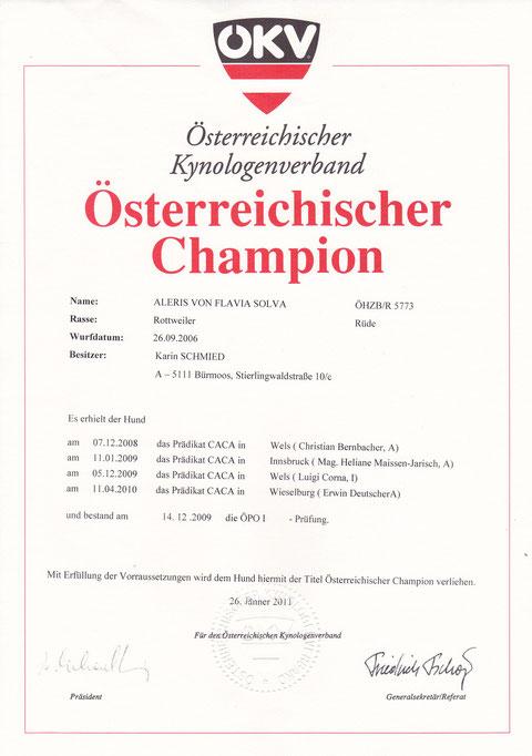 Urkunde Österr. Champion