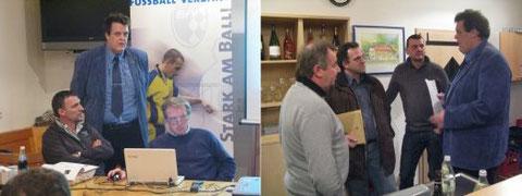 links: BFV-Vertreter; rechts: der STS Vorstand im Gespräch mit Spielleiter Hans Weber