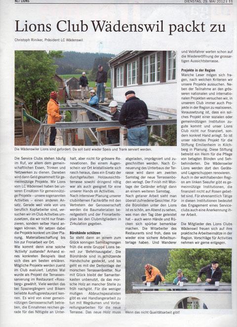 Bericht Zürichsee Zeitung 29.05.12