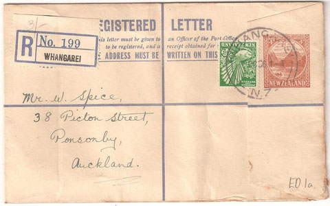 4d pre printed registered stationery card, Whangarei to Auckland, 1936. Uprated to 4 1/2d with extra Piwakawaka,Ed1a.