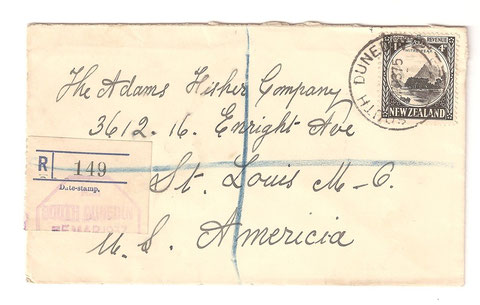 4d.Registered cover 5-3-1937.South Dunedin to St. Louis. USA.