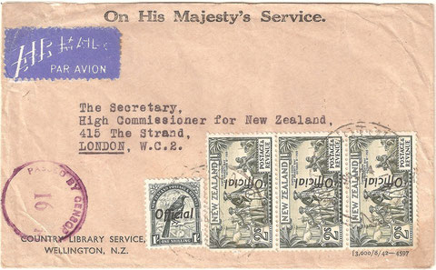 Airmail OHMS cover Wellington to London from the Country Library Service, Wellington at 7/- double weight step, Passed by Censor 16 cachet, but cover unopened and no censorship tape. Strip of three Cook officials L013e, the last stamp showing  R 8/5 flaw.