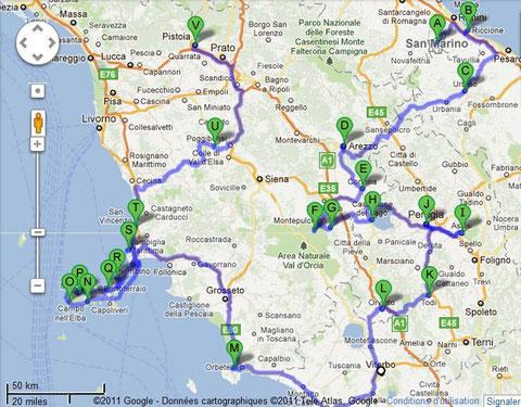 1 mois en OMBRIE & TOSCANE (itinéraire et sites visités)
