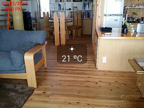 リビング床表面温度可視画像