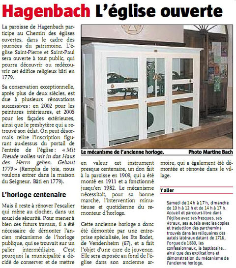 Article de presse du journal l'ALSACE du 18 septembre 2008