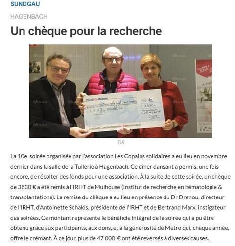 Journal l'Alsace du 12/02/2019
