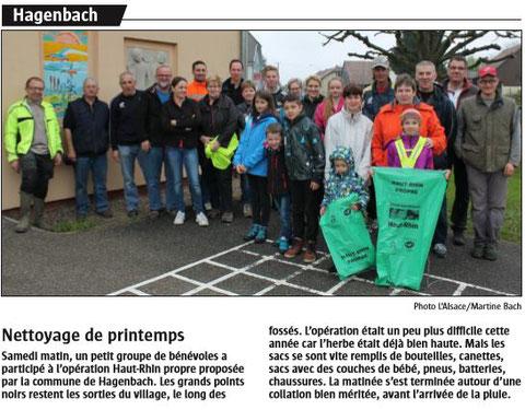 Journal l'Alsace du 26 avril 2016