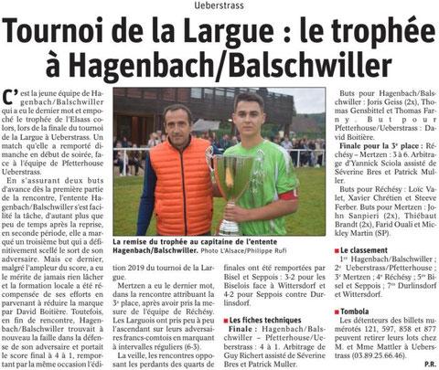 Journal L'Alsace du 1 août 2019