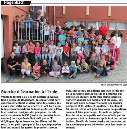 Journal l'Alsace du 9 octobre 2016