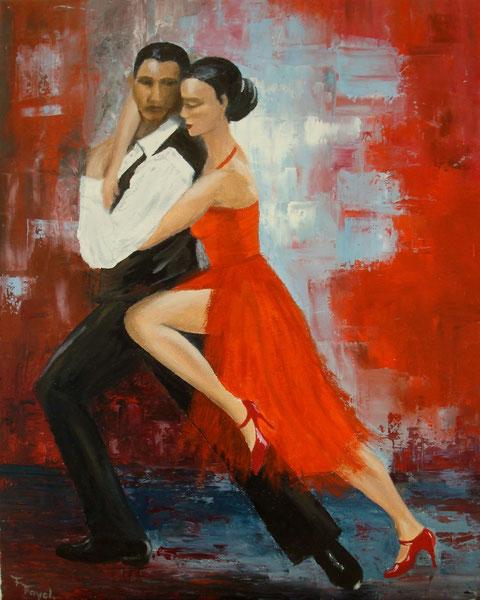 """""""Danseurs de tango argentin"""" huile sur toile de Françoise Fayole, Hagenb'art"""