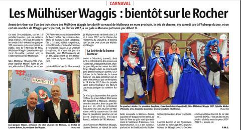 Journal l'Alsace du 7/11/2016