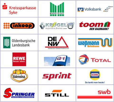 KSK Syke, Marktkauf, Volksbank, Inkoop, Krügel, Toom, Oldenburgische Landesbank, Dachdecker-Einkauf Nordwest, Waßmann, Rewe, Q1, Total, Valensina, Sprint, Score, Springer, Still, SWB