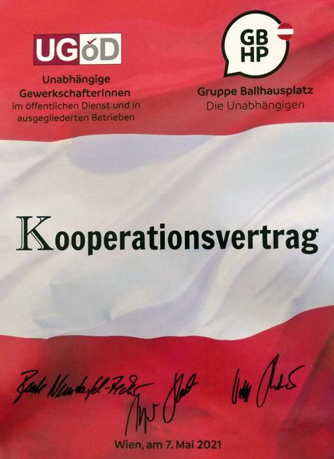 Poster Kooperationsvertrag GBHP und UGÖD