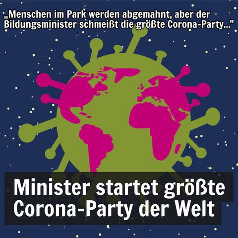 Grafik: Bunter Planet in Form eines Corona-Virus