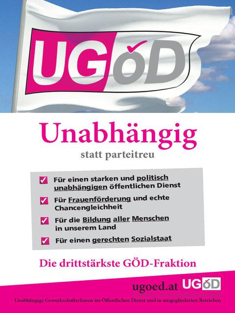 Plakat: UGöD Fahne im Wind; 4 Forderungen: Für ienen starken und politisch unabhängigen öffentlichen Dienst, für Frauenförderung und echte Chancengleichheit, für die Bildung aller Menschen, für einen gerechten Sozialstaat