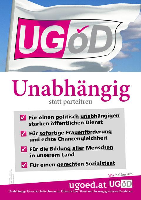 Plakat: UGöD Fahne im Wind; 4 Forderungen, UGöD Logo