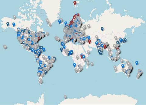 Am 15. 3. 2019 forderten Millionen Kinder in 2.083 Städten und 125 Nationen gemeinsam, dass sich die Regierungen endlich um die Natur und die Zukunft der Erde sorgen. Bild: fridaysforfuture.org / openstreetmap.org
