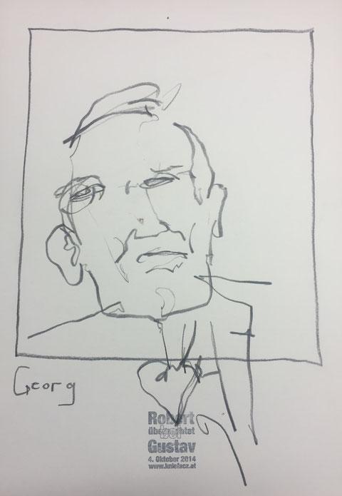 Georg Becker, Portrait-Karrikatur, Bleistiftzeichnung 2014
